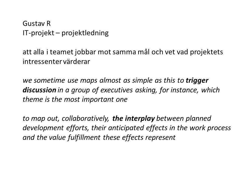 Gustav R IT-projekt – projektledning att alla i teamet jobbar mot samma mål och vet vad projektets intressenter värderar we sometime use maps almost a