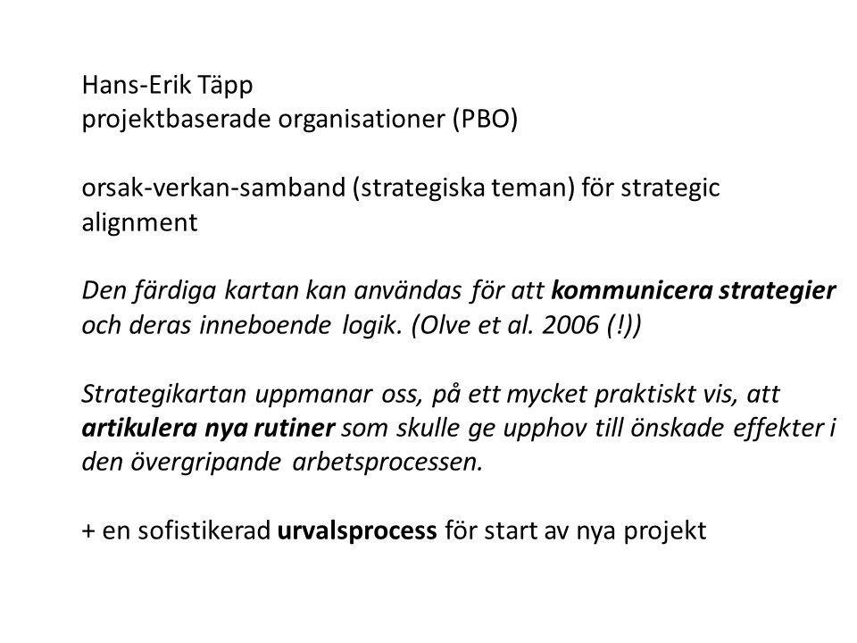 Hans-Erik Täpp projektbaserade organisationer (PBO) orsak-verkan-samband (strategiska teman) för strategic alignment Den färdiga kartan kan användas f