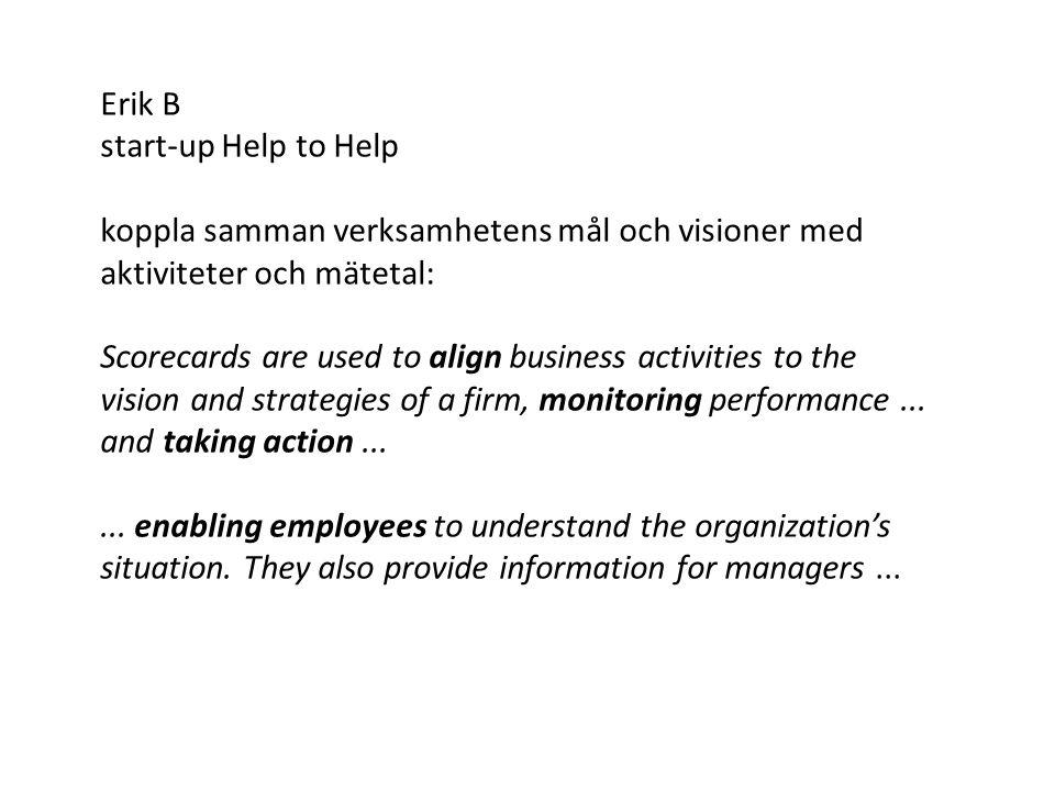Erik B start-up Help to Help koppla samman verksamhetens mål och visioner med aktiviteter och mätetal: Scorecards are used to align business activitie
