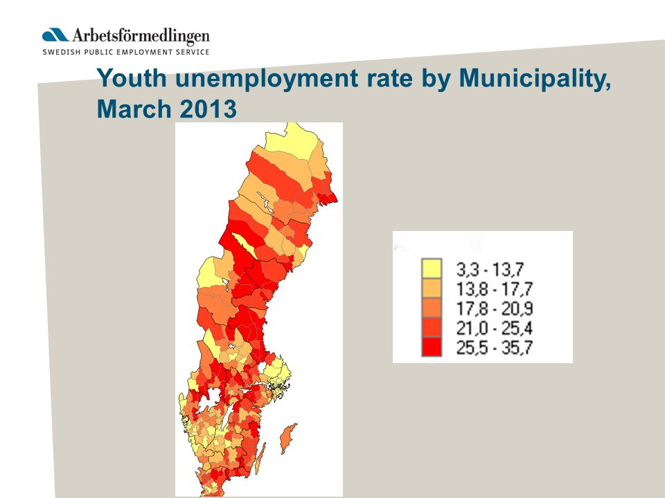 Youth unemployment rate by Municipality, March 2013