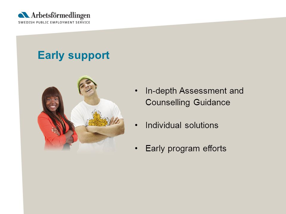 Early support In-depth Assessment and Counselling Guidance Individual solutions Early program efforts