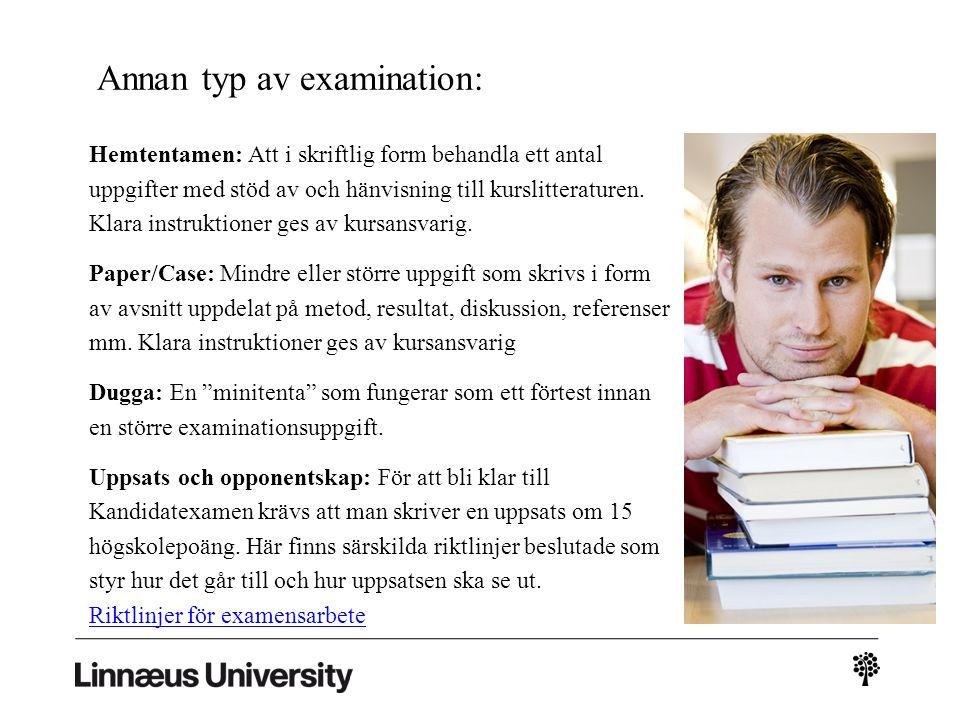 The University Library (UB) Ekonomihögskolans kontaktpersoner på UB: Eva Forssell, UB Kalmar Telephone: 0480-44 62 23 E-mail: eva.forssell@lnu.seeva.forssell@lnu.se Mattias Rieloff, UB Växjö Telephone: 0470-76 74 88 E-mail: mattias.rieloff@lnu.semattias.rieloff@lnu.se What can the library help you with: Search and writing help Anti-plagiarism Tutorial Self Tuition guide Web guide