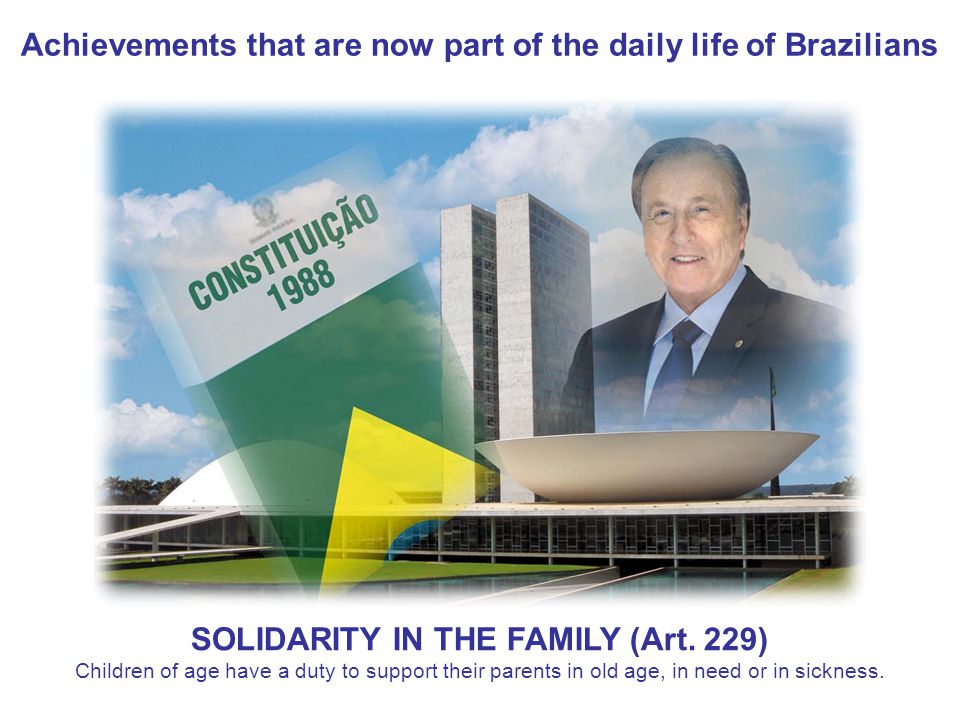 Achievements that are now part of the daily life of Brazilians SOLIDARITY IN THE FAMILY (Art.