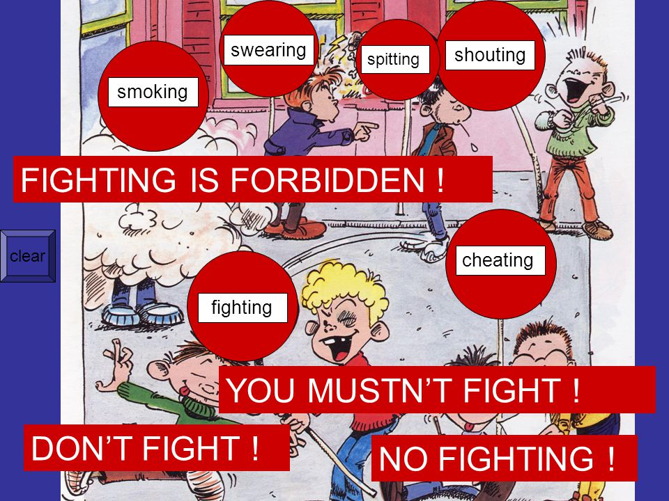 fighting smoking swearing shouting cheating spitting FIGHTING IS FORBIDDEN .