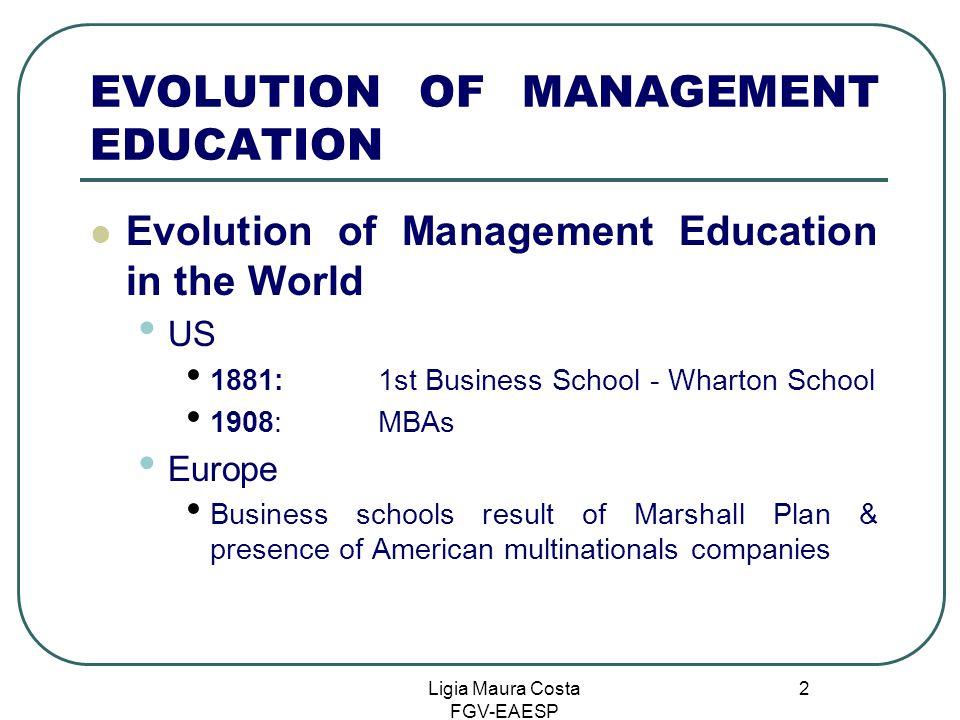 Ligia Maura Costa FGV-EAESP 2 EVOLUTION OF MANAGEMENT EDUCATION Evolution of Management Education in the World US 1881: 1st Business School - Wharton