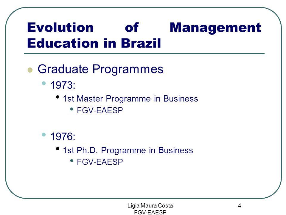 Ligia Maura Costa FGV-EAESP 4 Evolution of Management Education in Brazil Graduate Programmes 1973: 1st Master Programme in Business FGV-EAESP 1976: 1