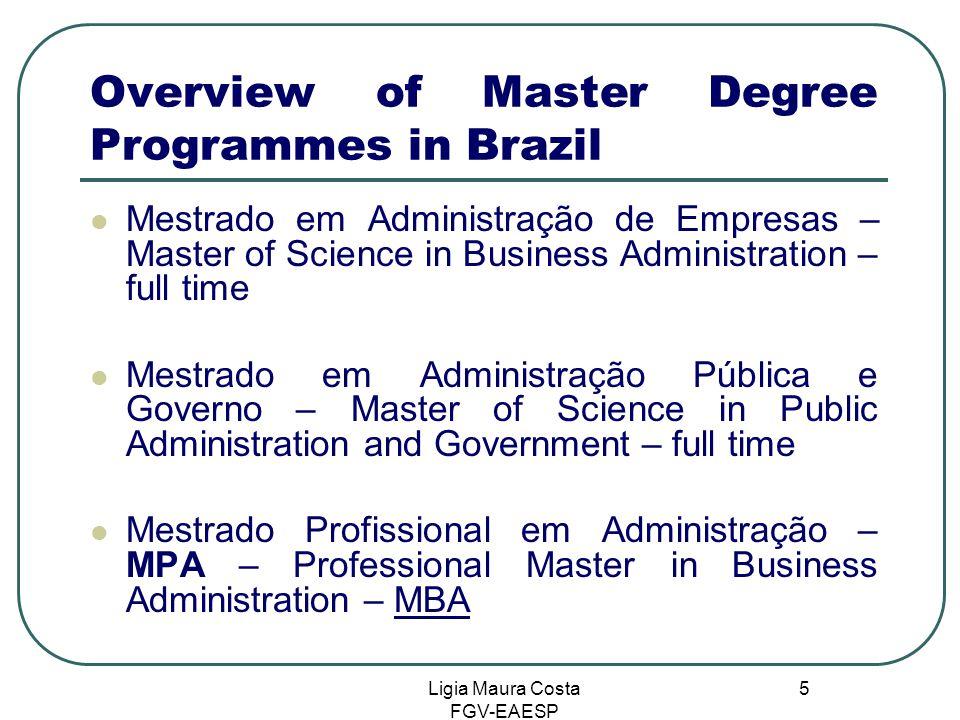 Ligia Maura Costa FGV-EAESP 5 Overview of Master Degree Programmes in Brazil Mestrado em Administração de Empresas – Master of Science in Business Adm