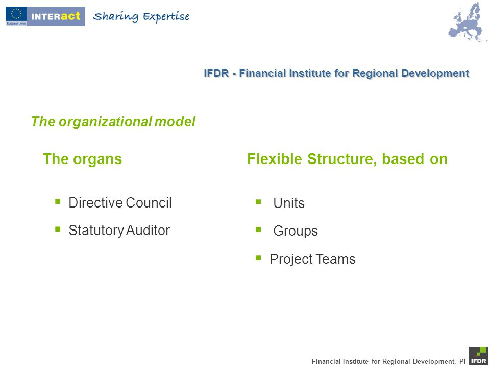 Financial Institute for Regional Development, PI The organizational model The organsFlexible Structure, based on  Directive Council  Statutory Auditor  Units  Groups  Project Teams IFDR - Financial Institute for Regional Development