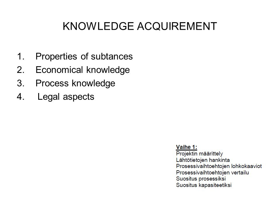 KNOWLEDGE ACQUIREMENT 1.Properties of subtances 2.Economical knowledge 3.Process knowledge 4.
