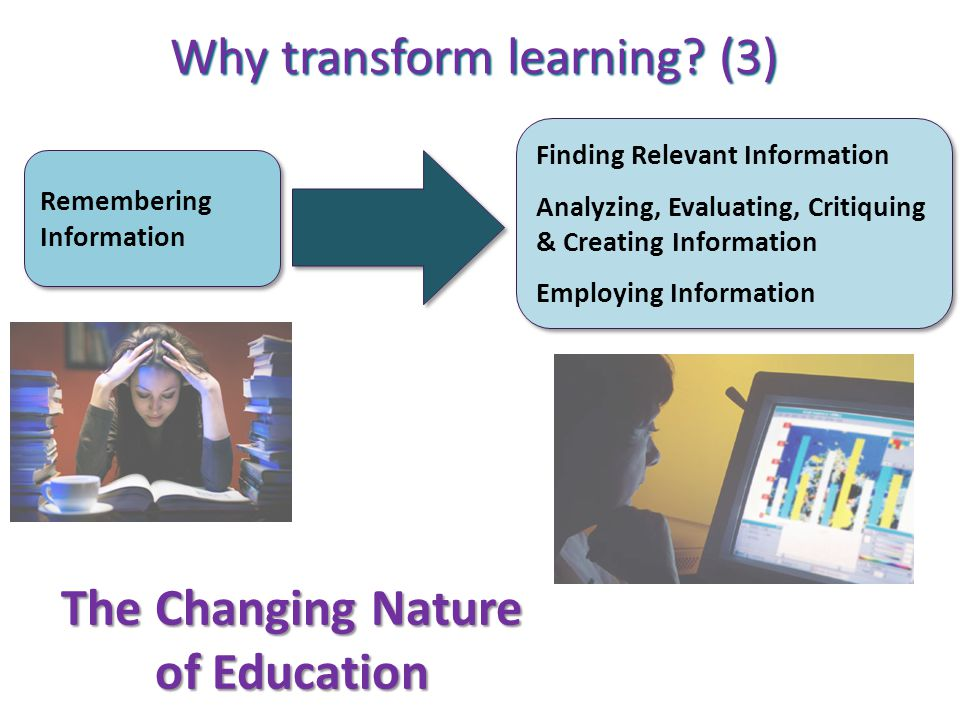 Remembering Information Finding Relevant Information Analyzing, Evaluating, Critiquing & Creating Information Employing Information Finding Relevant I