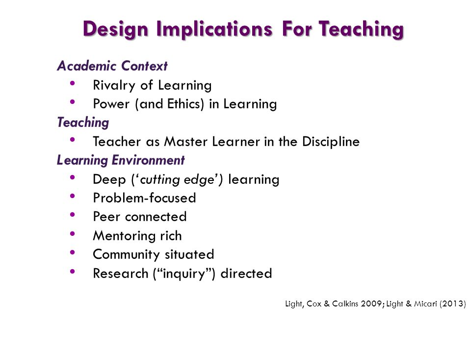 Academic Context Rivalry of Learning Power (and Ethics) in Learning Teaching Teacher as Master Learner in the Discipline Learning Environment Deep ('c