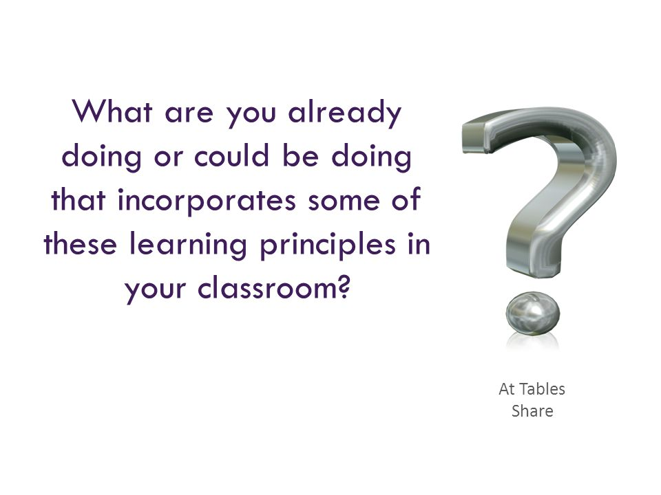 What are you already doing or could be doing that incorporates some of these learning principles in your classroom? At Tables Share