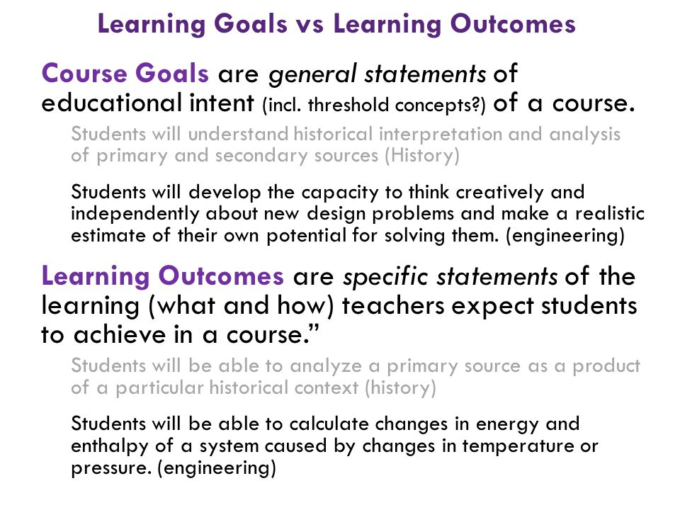 Course Goals are general statements of educational intent (incl. threshold concepts?) of a course. Students will understand historical interpretation