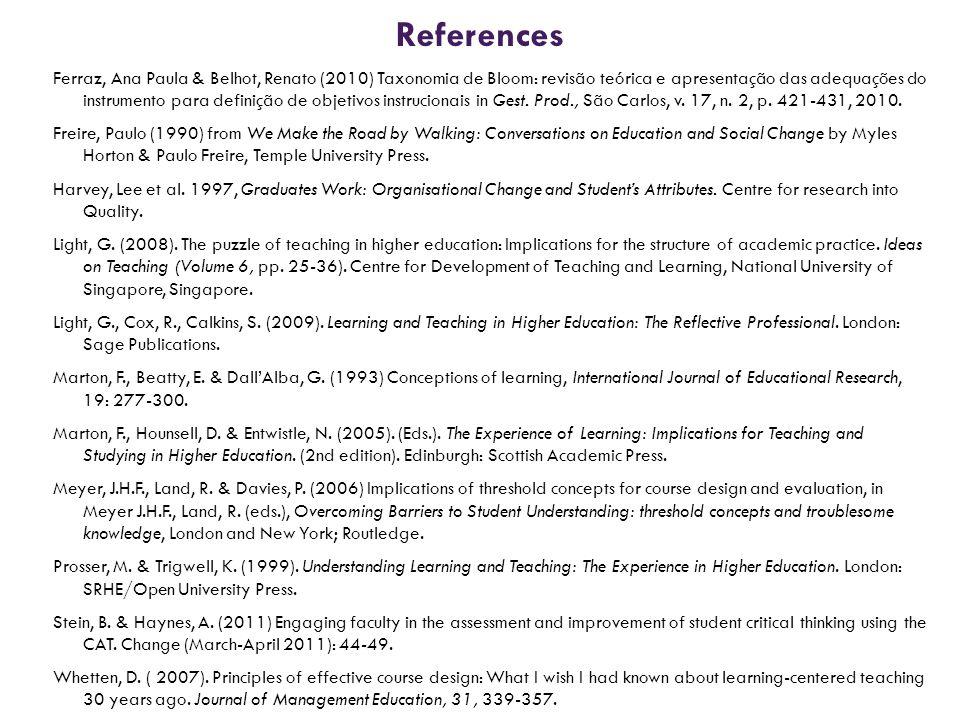 References Ferraz, Ana Paula & Belhot, Renato (2010) Taxonomia de Bloom: revisão teórica e apresentação das adequações do instrumento para definição d