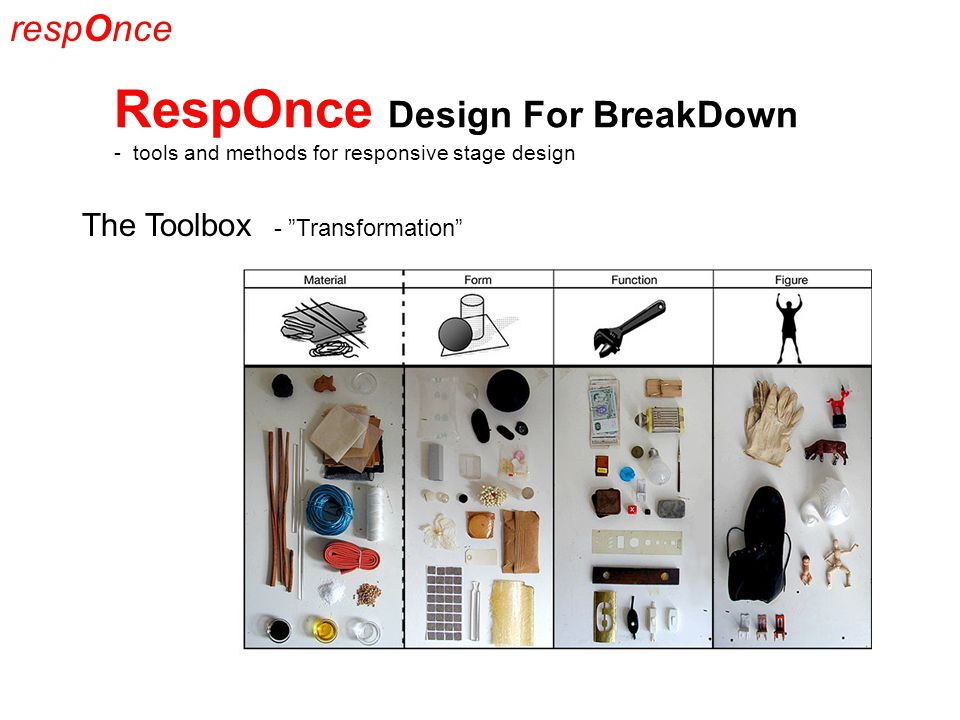 respOnce RespOnce Design For BreakDown - tools and methods for responsive stage design The Toolbox - Transformation