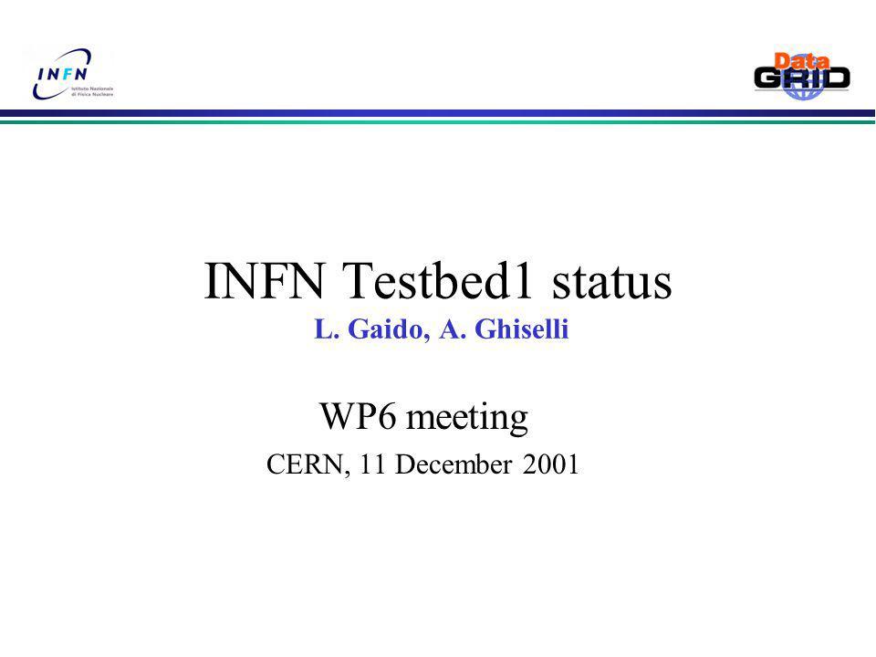 INFN Testbed1 status L. Gaido, A. Ghiselli WP6 meeting CERN, 11 December 2001
