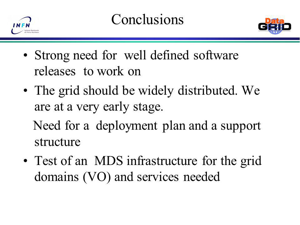 Conclusions Strong need for well defined software releases to work on The grid should be widely distributed.