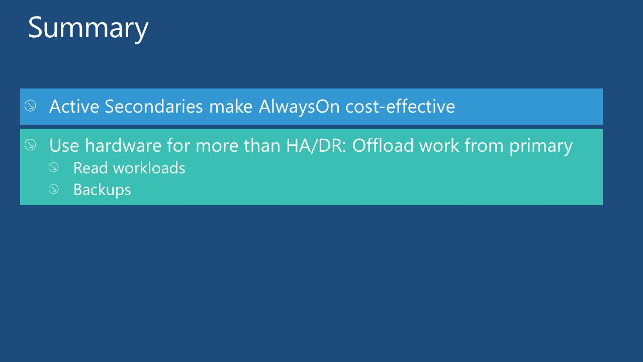 Active Secondaries make AlwaysOn cost-effective Use hardware for more than HA/DR: Offload work from primary Read workloads Backups