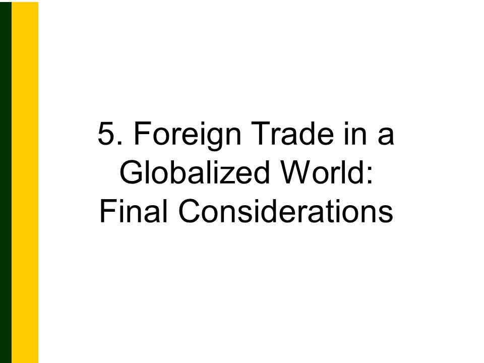 5. Foreign Trade in a Globalized World: Final Considerations