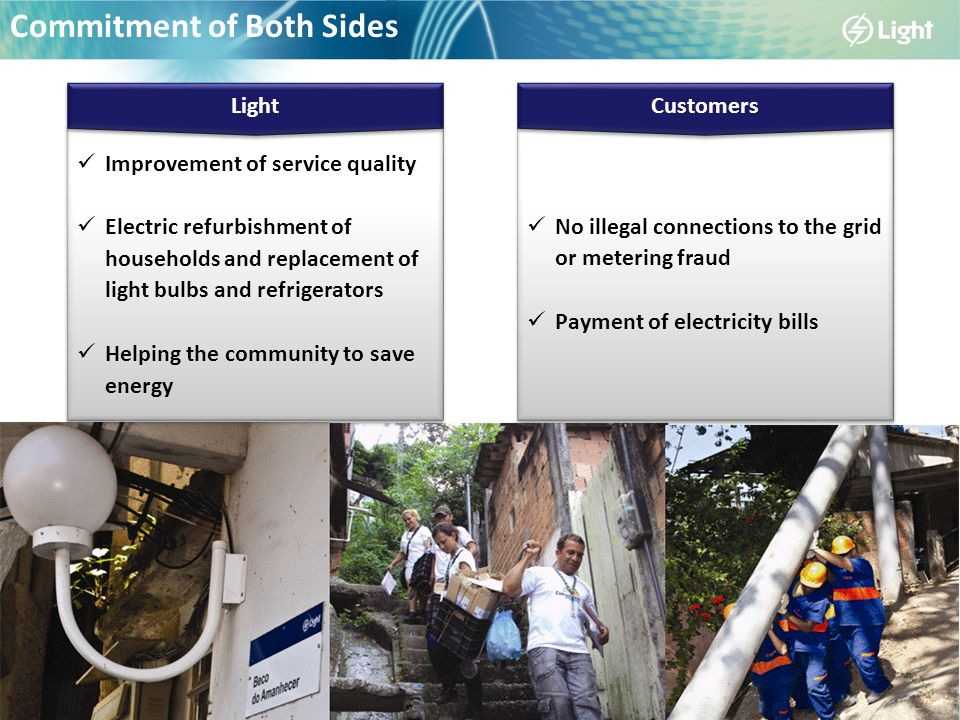 Commitment of Both Sides Improvement of service quality Electric refurbishment of households and replacement of light bulbs and refrigerators Helping