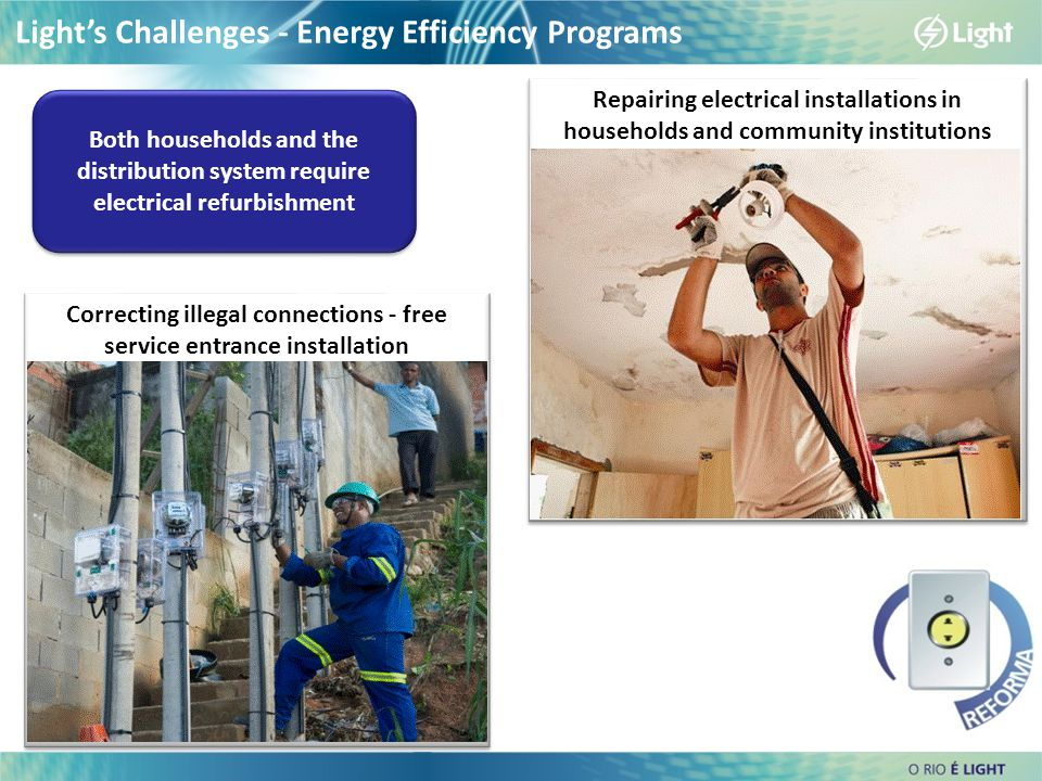 Correcting illegal connections - free service entrance installation Light's Challenges - Energy Efficiency Programs Repairing electrical installations