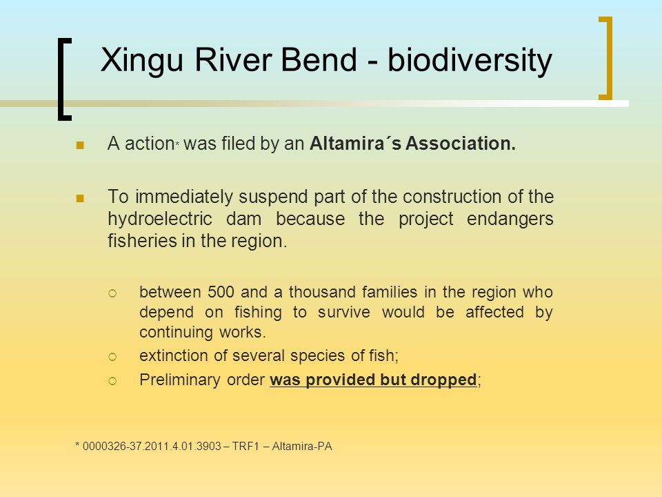 Xingu River Bend - biodiversity A action * was filed by an Altamira´s Association.