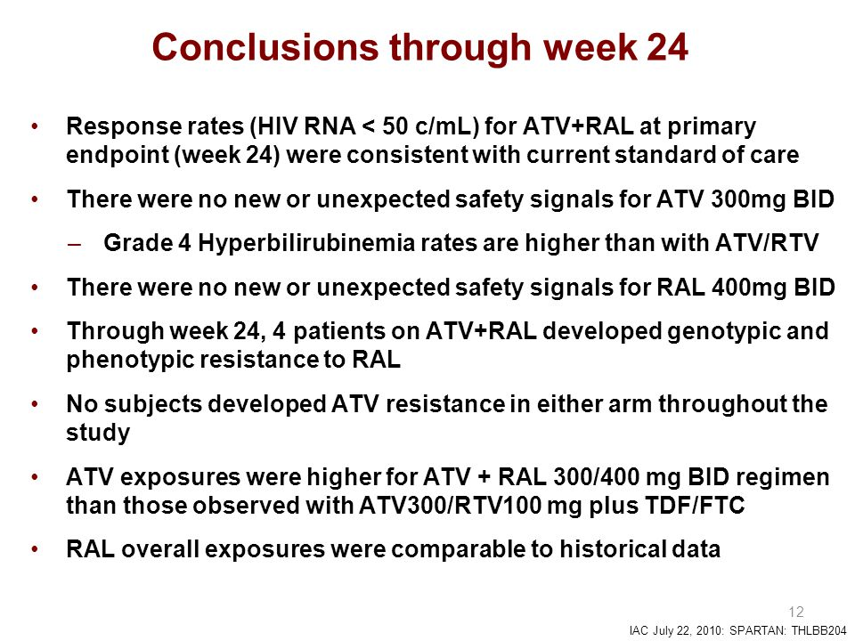 IAC July 22, 2010: SPARTAN: THLBB204 12 Conclusions through week 24 Response rates (HIV RNA < 50 c/mL) for ATV+RAL at primary endpoint (week 24) were consistent with current standard of care There were no new or unexpected safety signals for ATV 300mg BID –Grade 4 Hyperbilirubinemia rates are higher than with ATV/RTV There were no new or unexpected safety signals for RAL 400mg BID Through week 24, 4 patients on ATV+RAL developed genotypic and phenotypic resistance to RAL No subjects developed ATV resistance in either arm throughout the study ATV exposures were higher for ATV + RAL 300/400 mg BID regimen than those observed with ATV300/RTV100 mg plus TDF/FTC RAL overall exposures were comparable to historical data