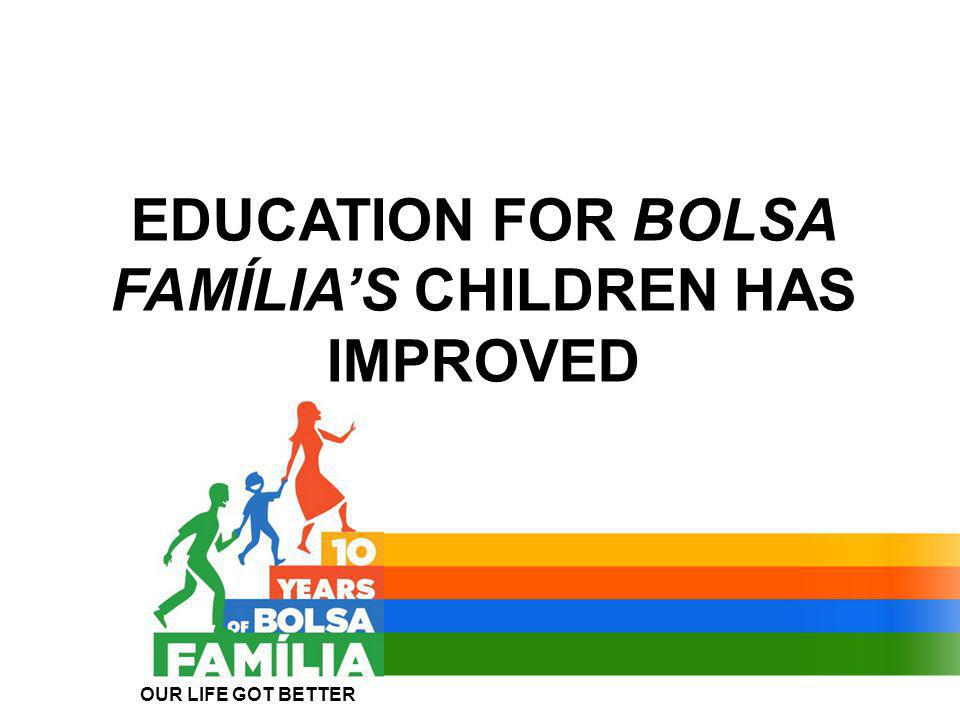 EDUCATION FOR BOLSA FAMÍLIA'S CHILDREN HAS IMPROVED OUR LIFE GOT BETTER