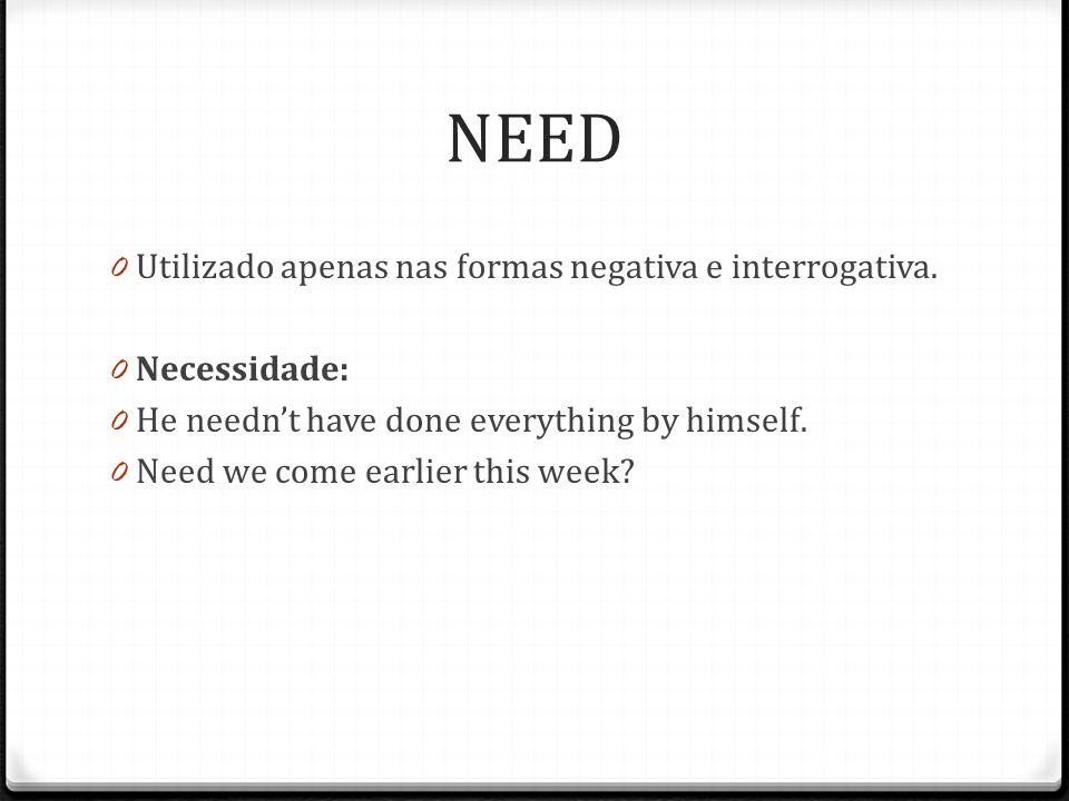 NEED 0 Utilizado apenas nas formas negativa e interrogativa.