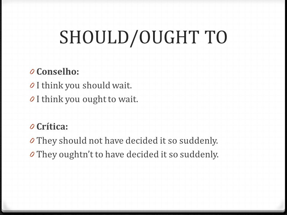 SHOULD/OUGHT TO 0 Conselho: 0 I think you should wait.