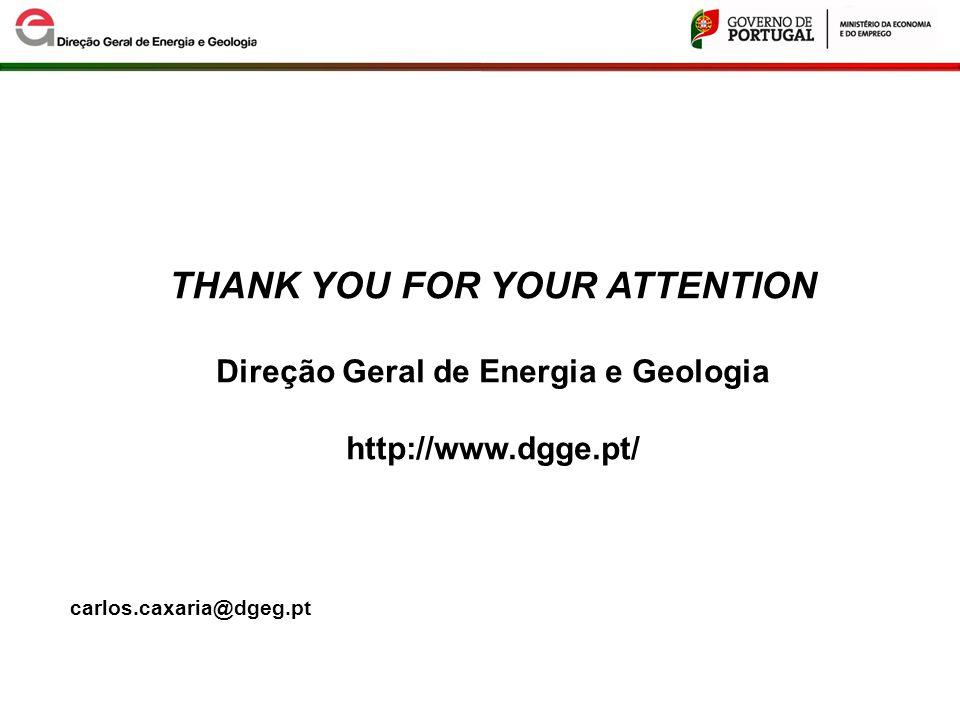 THANK YOU FOR YOUR ATTENTION Direção Geral de Energia e Geologia http://www.dgge.pt/ carlos.caxaria@dgeg.pt