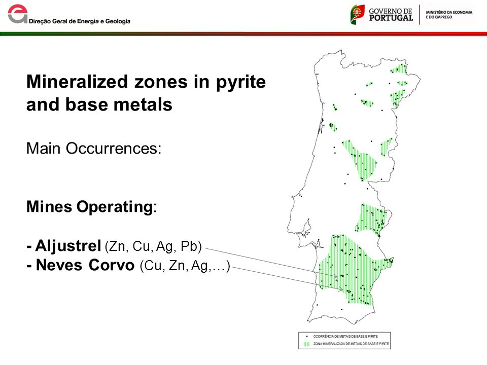 Base Metals and Pyrite Potential areas