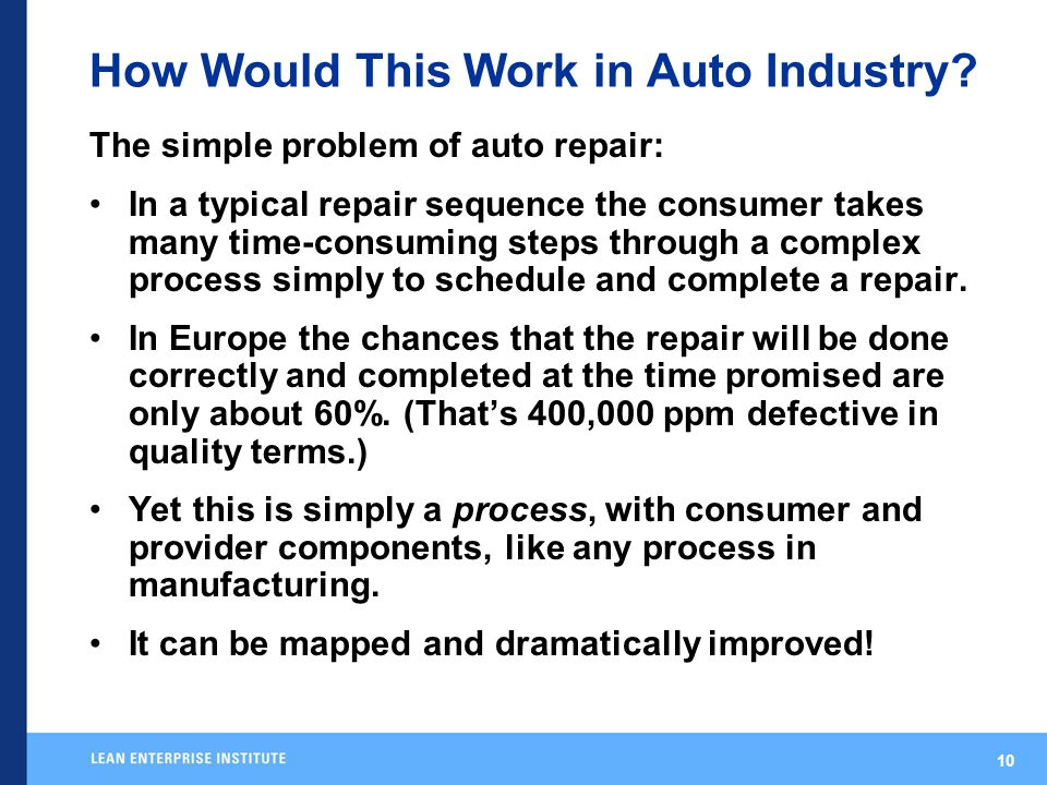 10 How Would This Work in Auto Industry.