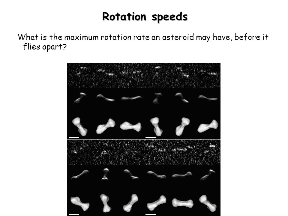 Rotation speeds What is the maximum rotation rate an asteroid may have, before it flies apart