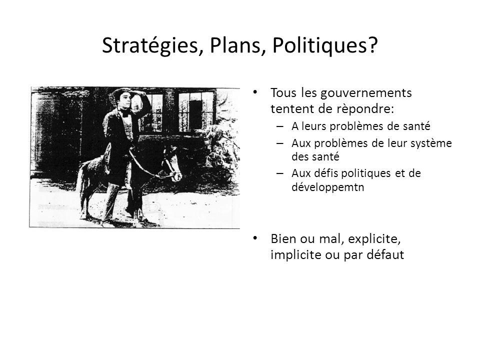Stratégies, Plans, Politiques? Tous les gouvernements tentent de rèpondre: – A leurs problèmes de santé – Aux problèmes de leur système des santé – Au