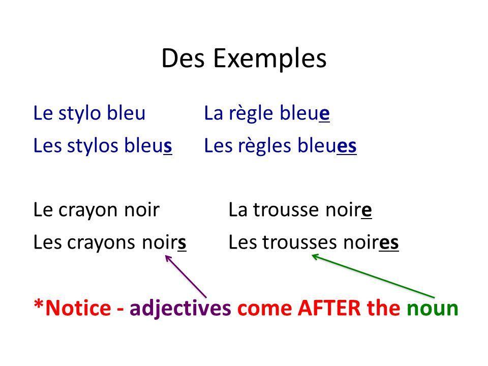 Des Exemples Le stylo bleuLa règle bleue Les stylos bleusLes règles bleues Le crayon noirLa trousse noire Les crayons noirsLes trousses noires *Notice - adjectives come AFTER the noun