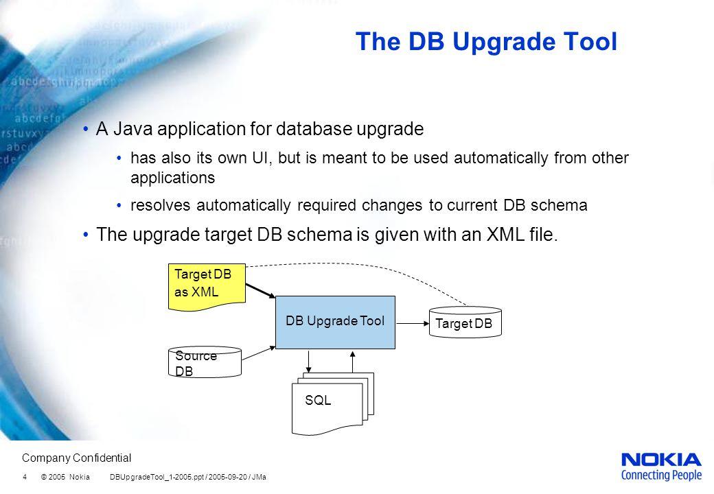 Company Confidential 4 © 2005 Nokia DBUpgradeTool_1-2005.ppt / 2005-09-20 / JMa The DB Upgrade Tool A Java application for database upgrade has also i