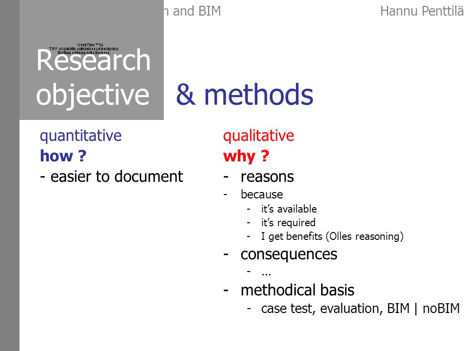 Early architectural design and BIMHannu Penttilä Research objective & methods qualitative why .