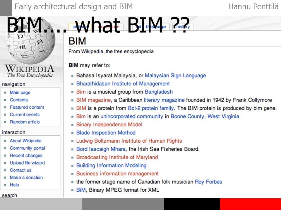Early architectural design and BIMHannu Penttilä BIM.... what BIM ??