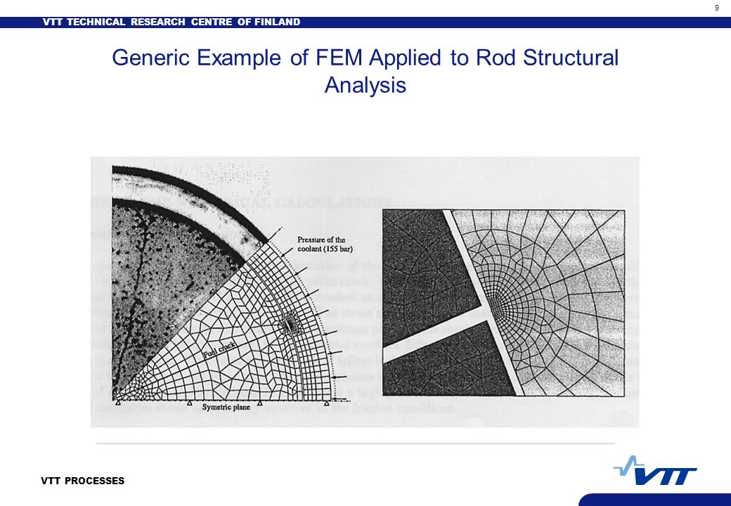 VTT TECHNICAL RESEARCH CENTRE OF FINLAND 9 VTT PROCESSES Generic Example of FEM Applied to Rod Structural Analysis