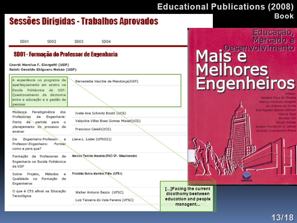 Educational Publications (2008) Book13/18 [...]Facing the current dicothomy beetween education and people managent...