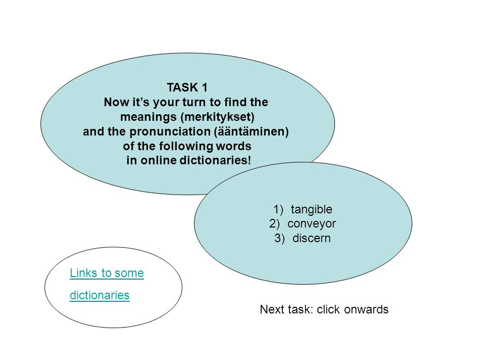 TASK 1 Now it's your turn to find the meanings (merkitykset) and the pronunciation (ääntäminen) of the following words in online dictionaries.