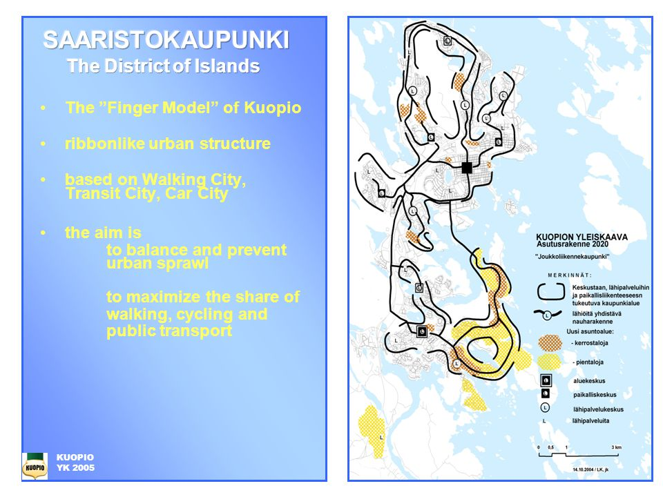 The Finger Model of Kuopio ribbonlike urban structure based on Walking City, Transit City, Car City the aim is to balance and prevent urban sprawl to maximize the share of walking, cycling and public transport KUOPIO YK 2005