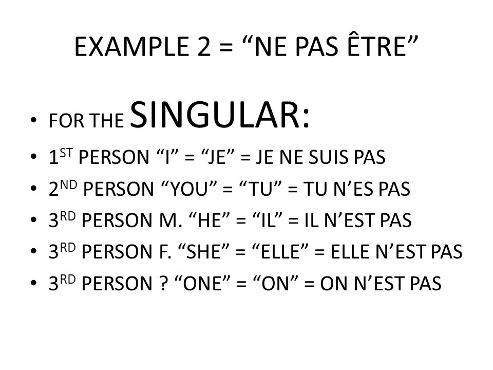 "EXAMPLE 2 = ""NE PAS ÊTRE"" FOR THE SINGULAR: 1 ST PERSON ""I"" = ""JE"" = JE NE SUIS PAS 2 ND PERSON ""YOU"" = ""TU"" = TU N'ES PAS 3 RD PERSON M. ""HE"" = ""IL"""