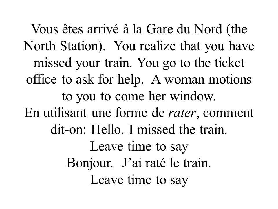 Vous êtes arrivé à la Gare du Nord (the North Station).
