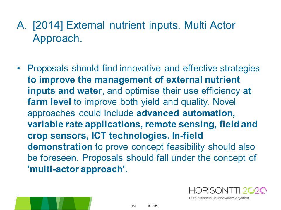 A.[2014] External nutrient inputs. Multi Actor Approach.