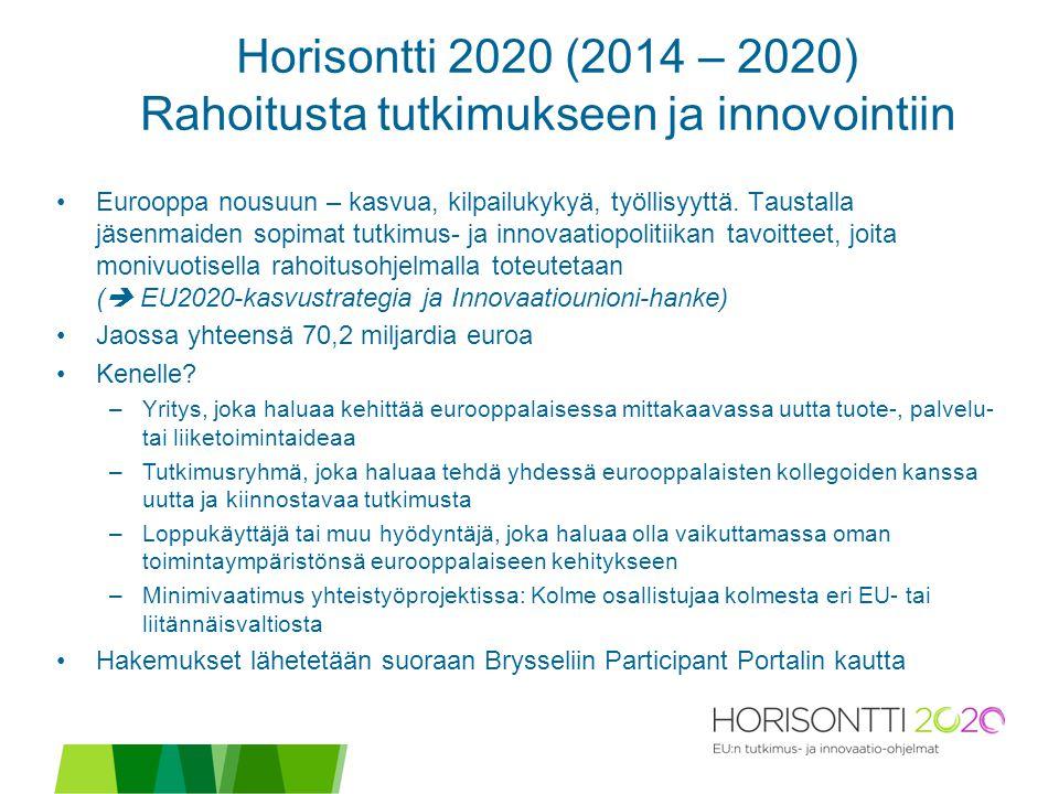Horisontti 2020 (2014 – 2020) Rahoitusta tutkimukseen ja innovointiin Eurooppa nousuun – kasvua, kilpailukykyä, työllisyyttä.