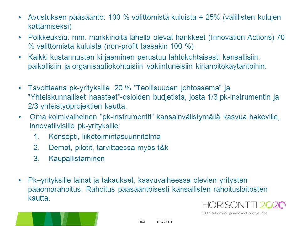 Avustuksen pääsääntö: 100 % välittömistä kuluista + 25% (välillisten kulujen kattamiseksi) Poikkeuksia: mm.