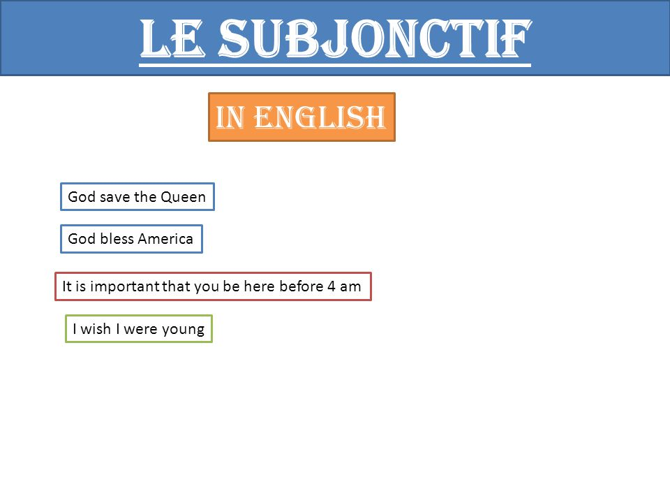 Le subjonctif In English God save the Queen God bless America It is important that you be here before 4 am I wish I were young