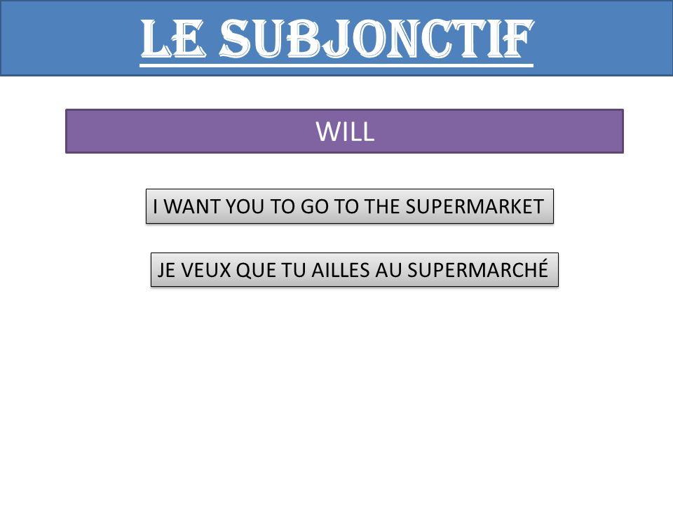 Le subjonctif WISH I WOULD LIKE THAT YOU ARRIVE BY 10 AM JE VOUDRAIS QUE TU ARRIVES POUR 10 HEURES